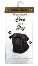 PUG BLACK DOG COTTON KITCHEN DISH TOWEL - $9.99