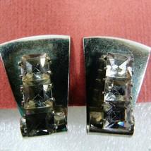 Vintage Silver Tone 3 Clear Crystal Princess Cut Rhinestones clip on Earrings - $30.89