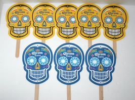 Set of 8 Corona Skull Paper Party Masks,  Day of the Dead, Sugar Skulls - $8.59