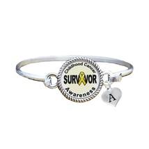 Custom Childhood Cancer Survivor Silver Bangle Bracelet Jewelry Choose Initial - $13.80+