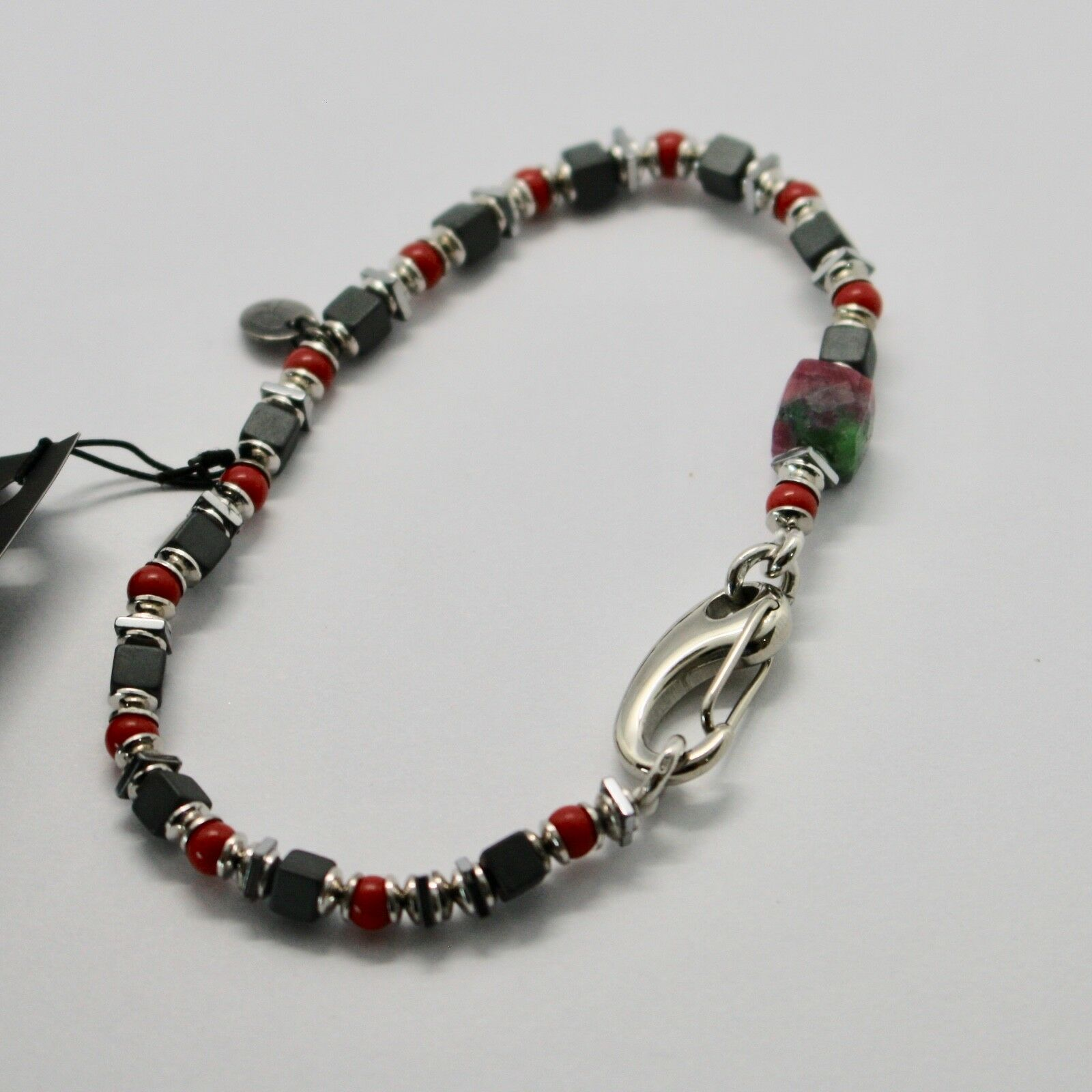 Silver 925 Bracelet Ruby Zoisite Coral Bpan-13 Made in Italy by Maschia image 5