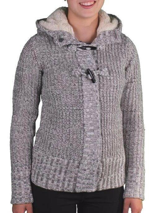 Bench Femmes Oldbury Gris Blanc Tricot Cardigan Capuche Pull BLFA1238 Nwt