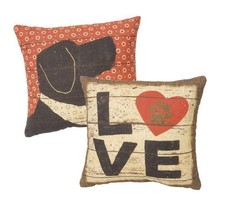 "Love w/ paw print  Pillow Primitives by Kathy 10"" by 10"" Dog - $19.99"