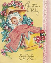 Vintage Baby Card Baby in Cradle with Flowers 1950's Pastel Yellow Pink ... - $6.92
