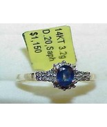 14K Blue Sapphire Oval 18 Diamond Ring Yellow Gold New w/ Tag $1150.00 - $346.49