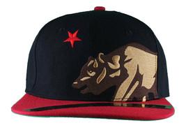 Dissizit! Side Bear Black Red Brim Snapback Cap Hat California Star Flag