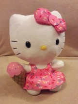 TY SANRIO white HELLO KITTY in SPRINKLES DRESS w/ ICE CREAM CONE & BOW 6... - $8.59