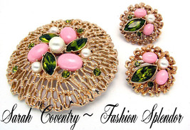 Vintage Brooch & Earrings Set Sarah Coventry FASHION SPLENDOR 1970s Exc.... - $34.95