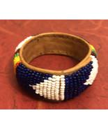 Vintage Native American Indian Seed Bead & Leather Bracelet - $24.75