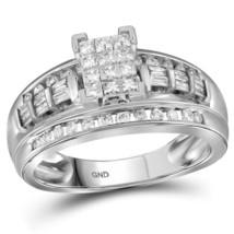 10kt White Gold Princess Diamond Cluster Bridal Wedding Engagement Ring ... - £448.69 GBP