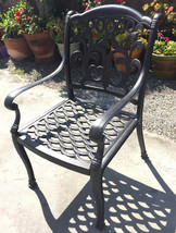Outdoor dining chairs set of 6 cast aluminum patio furniture rust free image 2