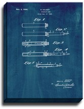 Fountain Pen Patent Print Midnight Blue on Canvas - $39.95+