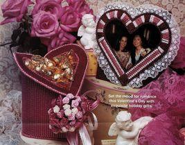 Plastic Canvas Valentine Heart Note Holder Kisses Bowl Trinket Box Pattern - $9.99