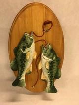 2 Decoys on wood  VINTAGE Wall mounted Ceramic Fish signed Richard Lehmann - $39.59