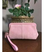 Coach Soho Suede Pink Wristlet  Kisslock Bag Clutch B16 - $79.19