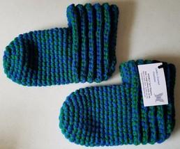 Slipper Socks Adult LG Royal Blue & Kelly Green - $10.00