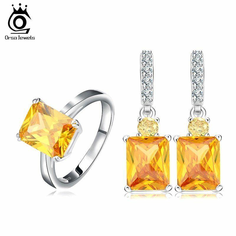 OrsaJewels® Luxury Zircon Ring Earring Set With 4 Carat Cut Yellow