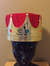 Adulto Cornetta Reale Re Regina Rosso & Oro con Pietre Crown Cappello Co... - $25.33 CAD