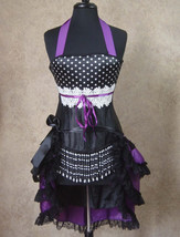 S-Purple/Black Pin Up/Moulin Showgirl/Dance Burlesque Costume w/3 Tier T... - $99.99