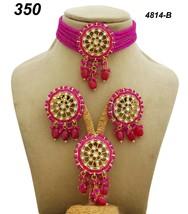Indian Ethnic Kundan Gold Plated Pendant Necklace Earring tika Jewelry Set 1 - $27.71