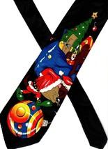 LOONEY TUNES vintage 1990s Novelty Necktie Tasmanian Devil Santa Claus C... - $8.61