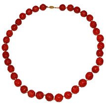 Cinnabar Hand Knotted Vintage Necklace w/ Gold Tone Clasp Chinese Export 1950's - $129.00