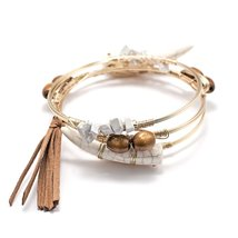 Inspired Silver White Horn & Brown Stones Charm Wrapped Golden Finish Wi... - $29.35