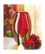 SUNFIRE GLASS VASE Contemporary Red Gold Curved - $29.68
