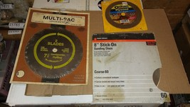 """7AAA44 Saw Blades: ROC-EDGE 7-1/4"""" 2 Pk, Oldham 5-1/2"""" 100 Tooth, 8"""" B&D Sticky - $24.52"""