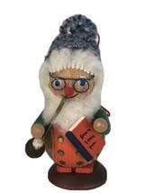 Vtg Steinbach Grandpa Smoking Pipe w/ Book Knitted Beanie Germany Wood O... - $14.84