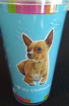 DOG LOVERS CUP Chihuahua Double Wall Insulated with Straw Blue Plastic NEW image 3