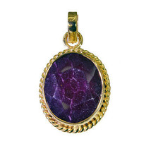 fine Indian Ruby Gold Plated Red Pendant Natural usual US gift - $9.89
