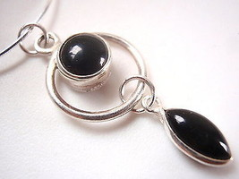 Genuine Black Onyx and Dangling Marquise on Hoop 925 Sterling Silver Pen... - $15.74