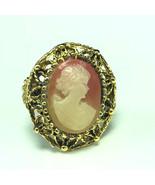 RETRO CAMEO RING gold jewelry victorian lady woman costume peach cream c... - $43.56