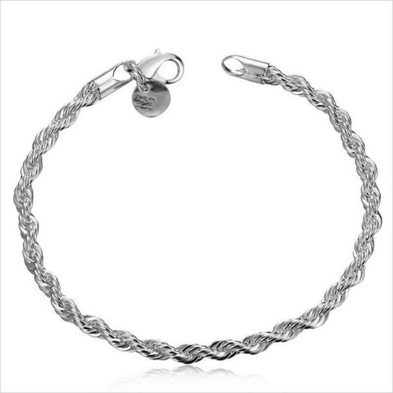 Primary image for 3mm Twisted Chain Bracelet 925 Sterling Silver NEW