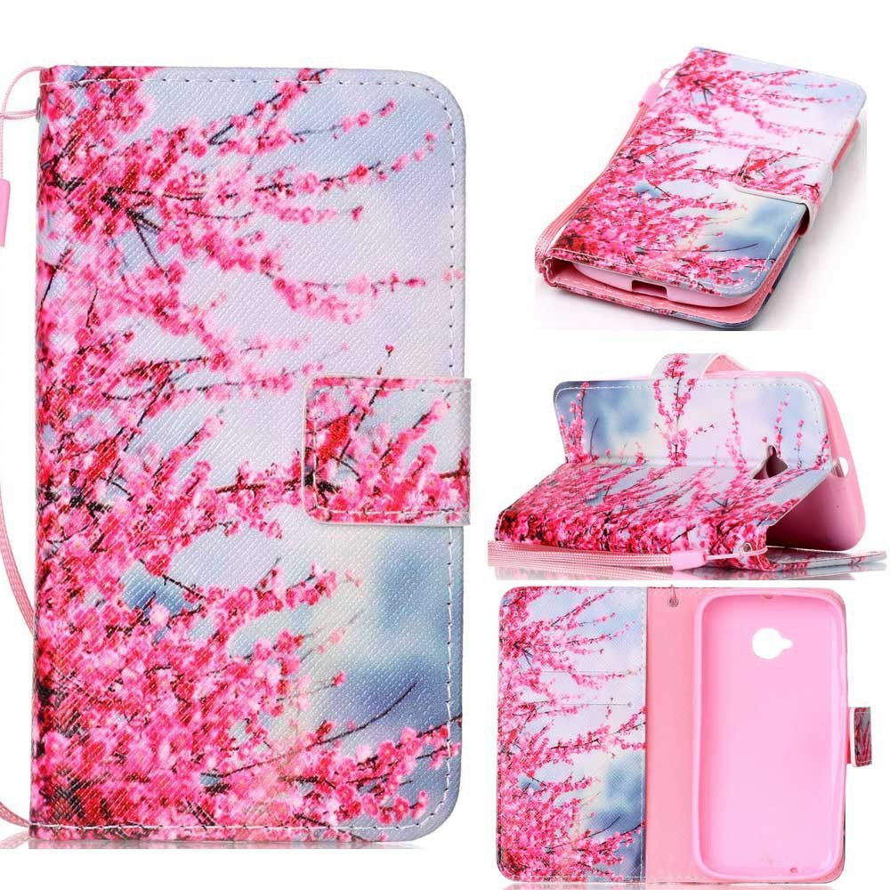 Moto E (2nd GEN.) Case, Moto E2 Wallet Case,XYX [Plum Flower][Double Sided Desig