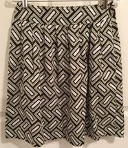 Michael Kors Pleated Skirt 4 Geometric Print Multi-Color Black Green Whi... - $39.26