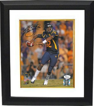 Primary image for Geno Smith signed West Virginia Mountaineers 8x10 Photo Custom Framed (navy jers