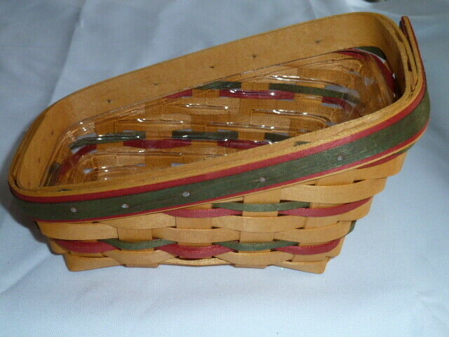 Longaberger 1998 Small Sleigh Basket Combo Protector Liner Wrought Iron Runner