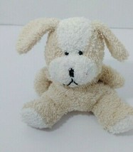 Tan beige white terry cloth plush puppy dog small - $29.69