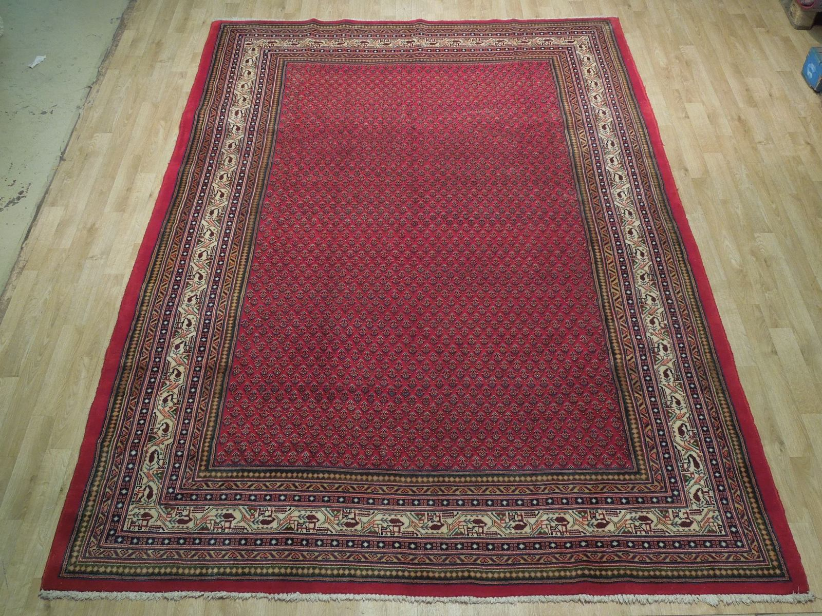 Vivid Boteh Flamed All-Over Persian Hand-Knotted 7x10 Red Mir Wool Area Rug image 4