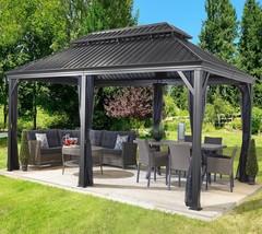 Patio Sun Shelter Pool Furniture Gazebo 12 x 20 ft Hardtop Steel Roof Ga... - $3,254.14