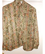 Cute Andre Sauvage LS cute necktie sheer blouse size 12 Top abstract des... - $9.89