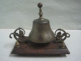 Antique bronze and wood Bell desk / table hotel bell - $59.26