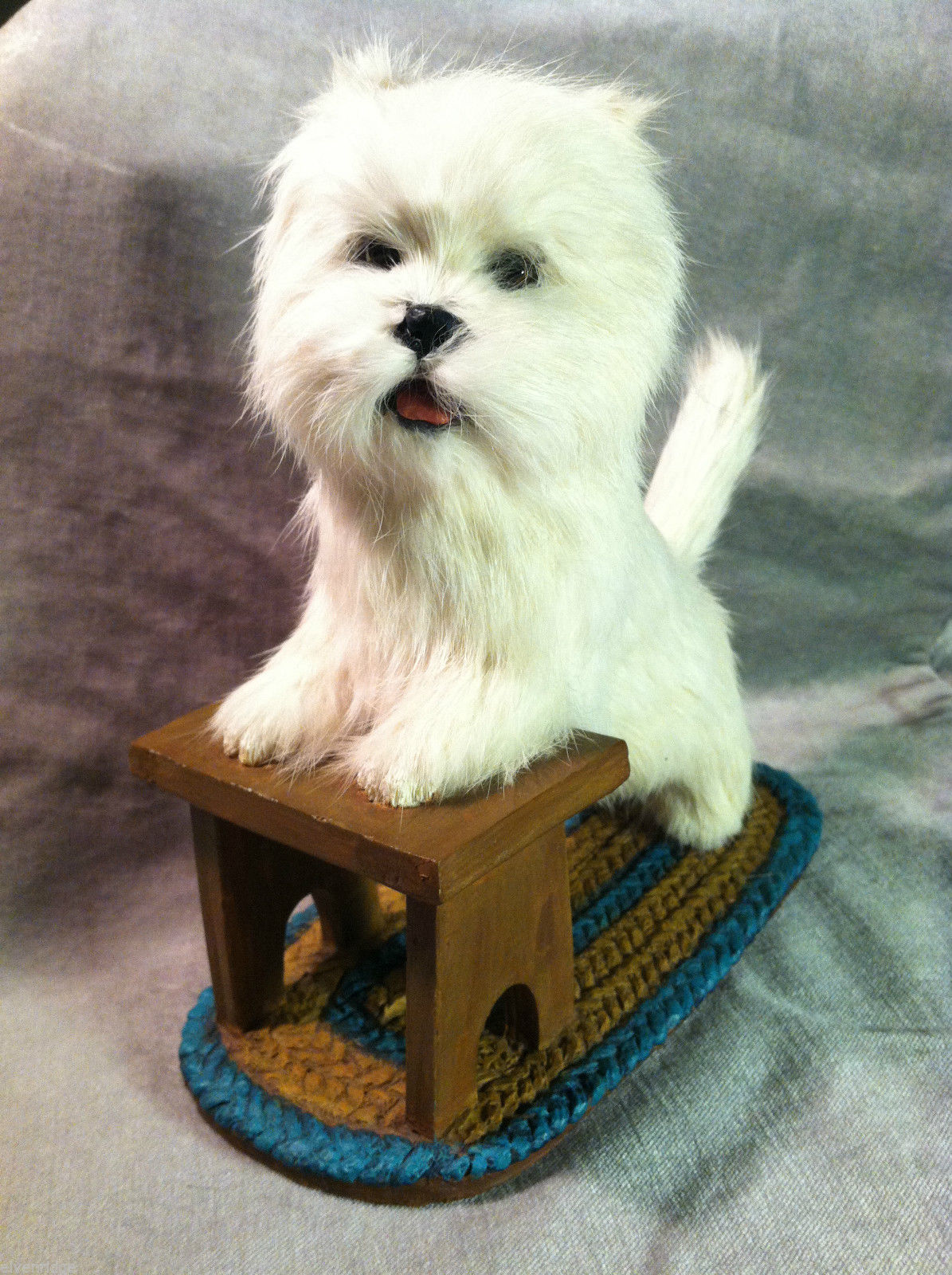 West Highland White Terrier WESTIE w stool  Dog Figurine recycled rabbit fur