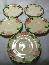 Vintage Franciscan China Desert Rose Set of 5-5.5 inch Saucer Plates - $29.70