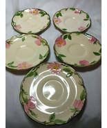 Vintage Franciscan China Desert Rose Set of 5-5.5 inch Saucer Plates - $29.70