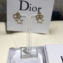Authentic Christian Dior 2019 CD LOGO CRYSTAL STAR DANGLE EARRINGS  image 3