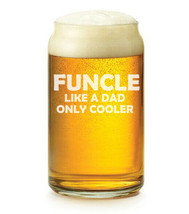 16 oz Beer Can Glass Funcle Like A Dad Only Cooler Funny Fun Uncle