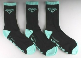 NEW 3 Pack of Diamond Supply Co Black diamond Blue Casual Cotton Crew Socks